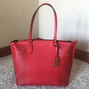 Ralph Lauren never used coral tote gld hardware